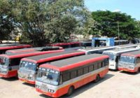 KSRTC buses parking at Chikballapur bus stand on Friday during bus strike by KSRTC unions. –KPN
